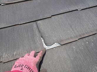 屋根材が剥がれた跡
