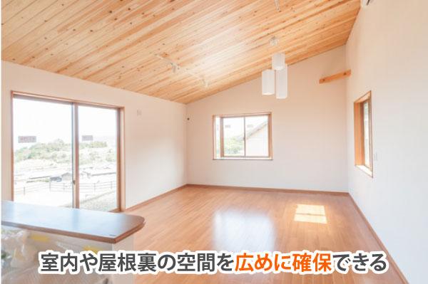空間を広めに確保した片流れ屋根の室内
