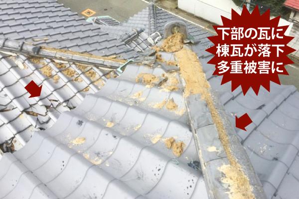 下部の瓦に棟瓦が落下多重被害に