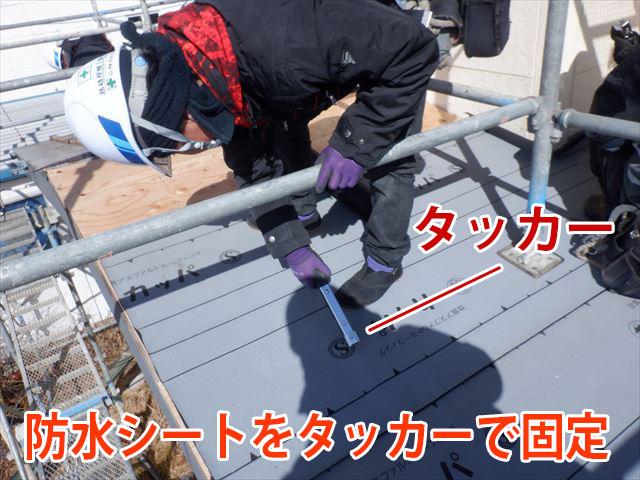防水シートをタッカーの針で固定