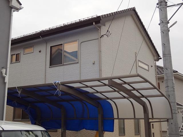 仙台市青葉区愛子│雪止めを増設してカーポートへの落雪防止(スノーZneo取り付け工事)