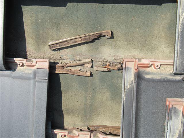 瓦を剥がした部分の瓦桟状況