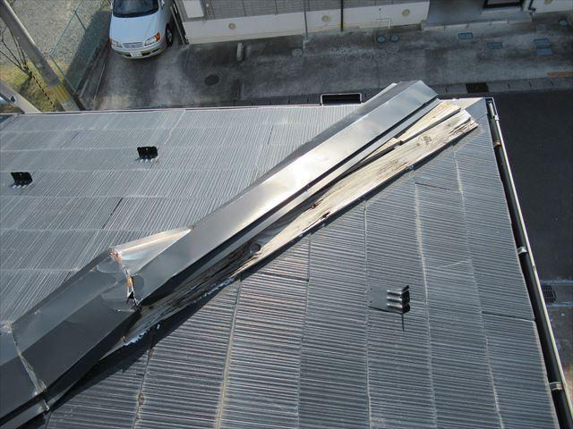 多賀城市│棟の貫板(木材)を樹脂製貫板に、棟板金を一部交換
